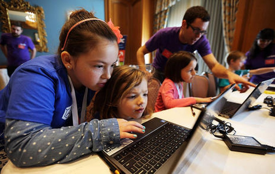 Kids have fun learning about computer programming