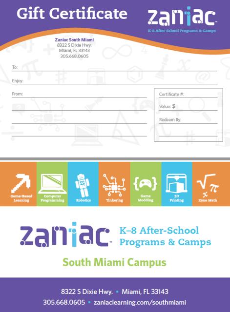 Zaniac Gift Certificate